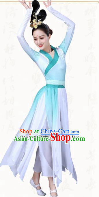 Chinese Traditional Classical Dance Green Dress China Group Dance Costumes for Women