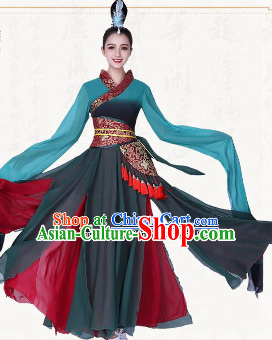 Chinese Traditional Classical Dance Water Sleeve Dress Ancient Group Dance Costumes for Women