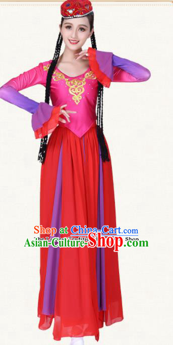 Chinese Traditional Uyghur Nationality Dress Uigurian Ethnic Folk Dance Costumes for Women