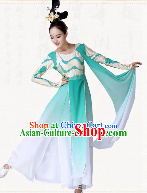 Chinese Traditional Classical Dance Umbrella Dance Green Dress Group Dance Costumes for Women