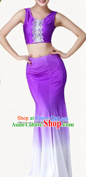 Traditional Chinese Dai Nationality Purple Dress Ethnic Peacock Dance Folk Dance Costumes for Women