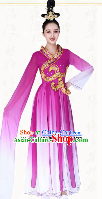 Chinese Traditional Classical Dance Purple Hanfu Dress Ancient Water Sleeve Group Dance Costumes for Women
