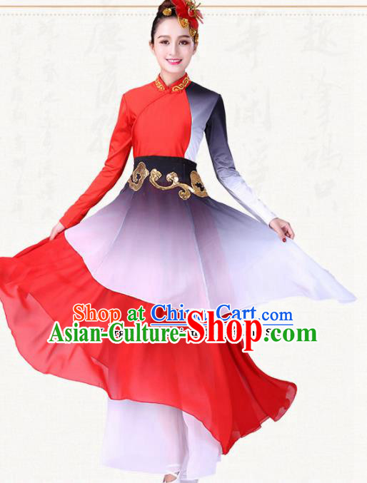 Chinese Traditional Classical Dance Red Dress Group Dance Costumes for Women