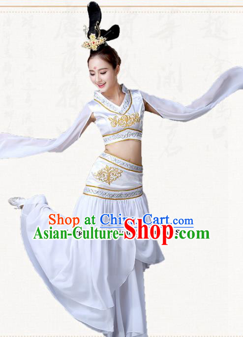 Chinese Traditional Classical Dance White Dress Ancient Peri Goddess Group Dance Costumes for Women