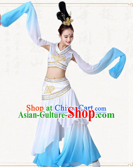 Chinese Traditional Classical Dance Blue Dress Ancient Peri Goddess Group Dance Costumes for Women