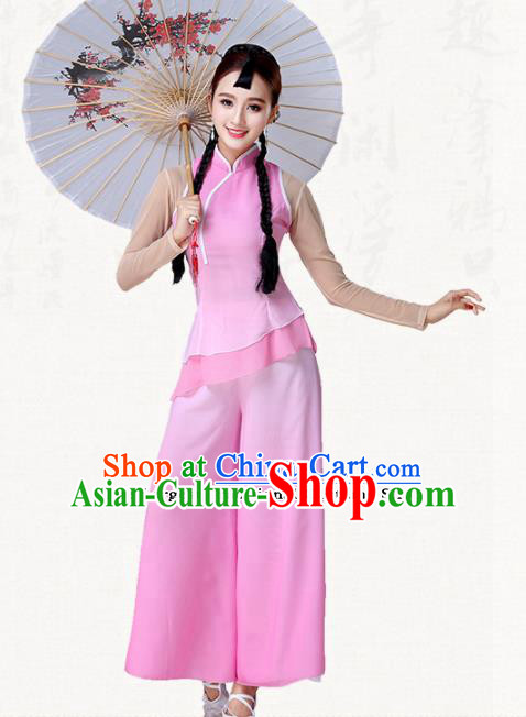 Traditional Chinese Classical Dance Umbrella Dance Pink Dress Group Dance Costumes for Women