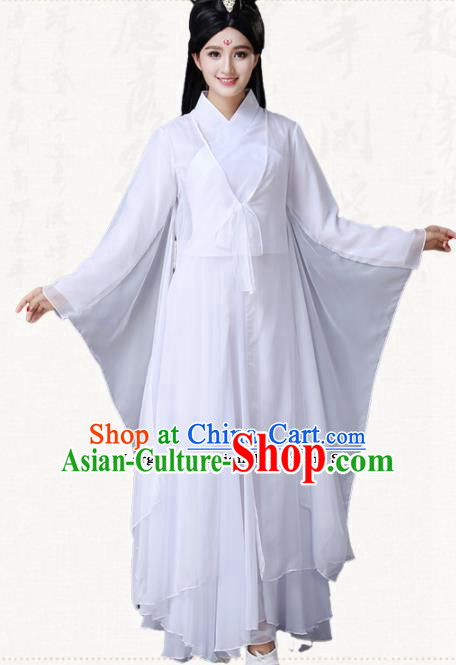 Traditional Chinese Classical Dance White Dress Ancient Goddess Group Dance Costumes for Women