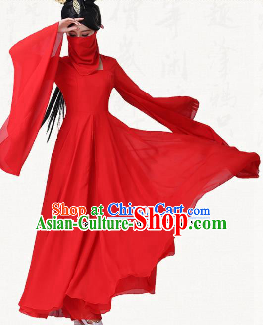 Traditional Chinese Classical Dance Red Dress Ancient Goddess Group Dance Costumes for Women