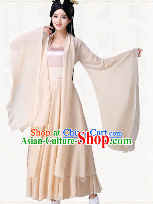 Traditional Chinese Classical Dance Champagne Dress Ancient Goddess Group Dance Costumes for Women