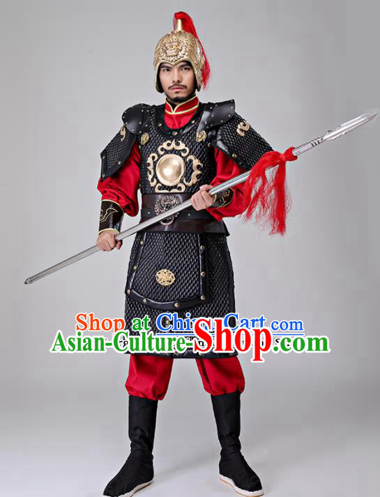 Traditional Chinese Han Dynasty Drama General Costumes Ancient Warrior Helmet and Body Armour for Men