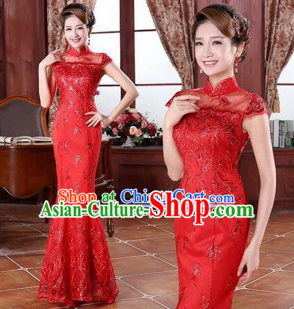 Traditional Chinese Classical Wedding Qipao Dress Bride Red Cheongsam for Women