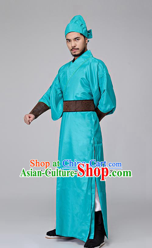 Traditional Chinese Three Kingdoms Period Swordsman Blue Costumes Ancient Drama Knight Clothing for Men