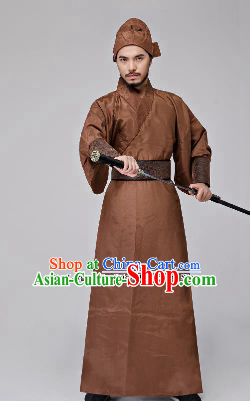 Traditional Chinese Three Kingdoms Period Swordsman Brown Costumes Ancient Drama Knight Clothing for Men