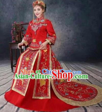 Traditional Chinese Wedding Dress Ancient Bride Xiuhe Suit Embroidered Costumes for Women