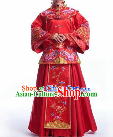 Traditional Chinese Embroidered Red Xiuhe Suit Ancient Bride Wedding Costumes for Women