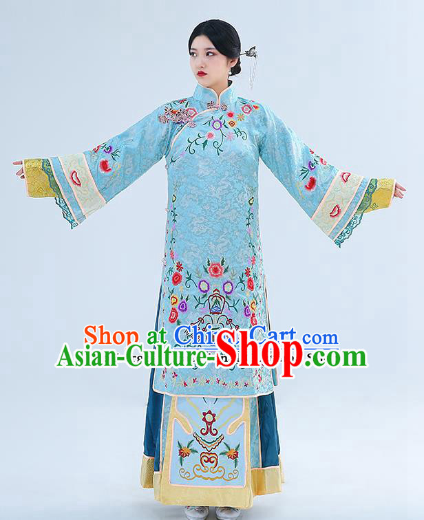 Traditional Chinese Qing Dynasty Drama Young Mistress Dress Ancient Nobility Lady Embroidered Costumes for Women