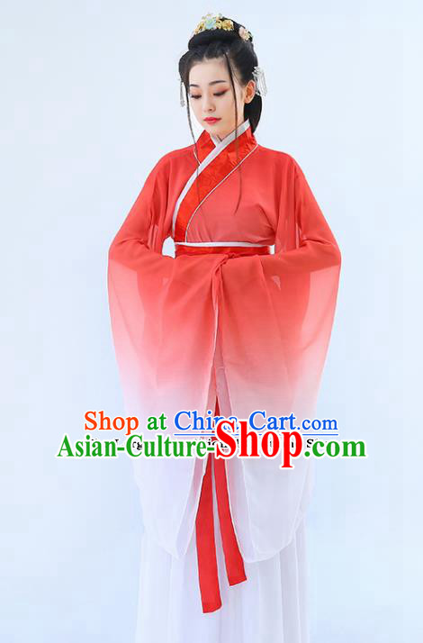 Traditional Chinese Han Dynasty Princess Red Hanfu Dress Ancient Drama Peri Costumes for Women