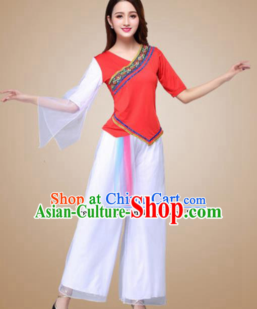 Traditional Chinese Folk Dance Yangko Costumes Fan Dance Group Dance Red Clothing for Women