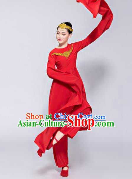 Traditional Chinese Classical Dance Costumes Folk Dance Group Dance Red Dress for Women