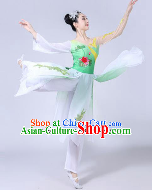 Traditional Chinese Classical Dance Costumes Lotus Dance Group Dance Green Dress for Women