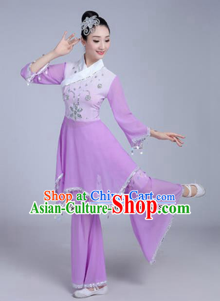 Traditional Chinese Classical Dance Costumes Fan Dance Group Dance Purple Dress for Women
