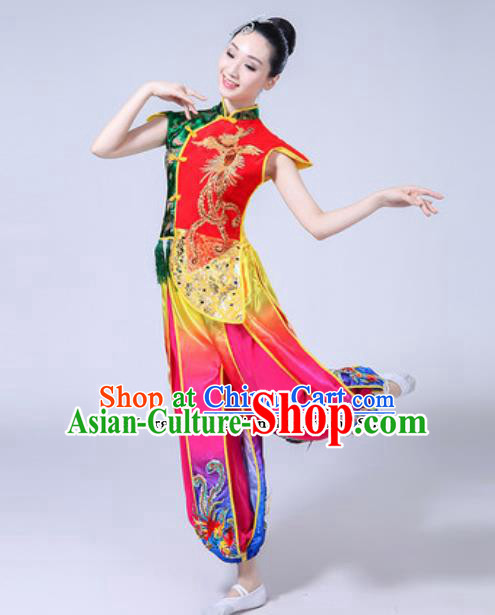Traditional Chinese Classical Dance Costumes Folk Dance Drum Dance Dress for Women
