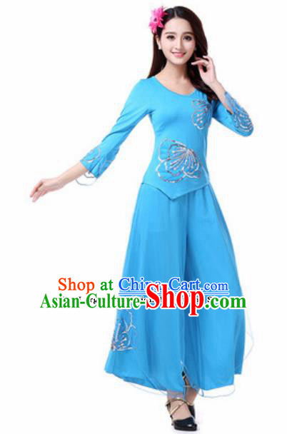 Traditional Chinese Folk Dance Costumes Fan Dance Yanko Dance Blue Dress for Women