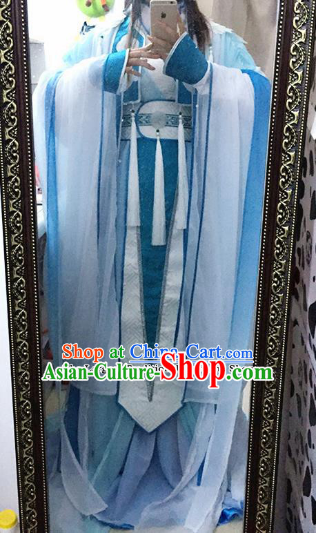 Traditional Chinese Cosplay Female Knight Costumes Ancient Swordswoman Blue Hanfu Dress for Women
