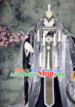 Traditional Chinese Cosplay Royal Highness Grey Costumes Ancient Swordsman Hanfu Clothing for Men