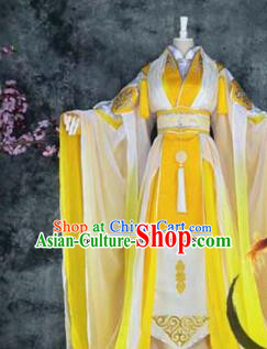 Traditional Chinese Cosplay Royal Highness Yellow Costumes Ancient Swordsman Hanfu Clothing for Men