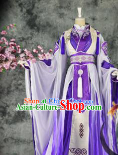 Traditional Chinese Cosplay Royal Highness Purple Costumes Ancient Swordsman Hanfu Clothing for Men