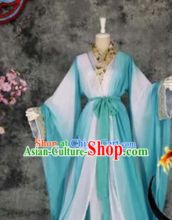 Traditional Chinese Cosplay Childe Green Costumes Ancient Swordsman Hanfu Clothing for Men