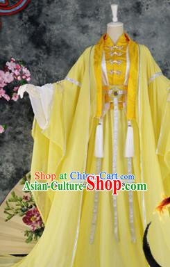 Traditional Chinese Cosplay Childe Yellow Costumes Ancient Swordsman Hanfu Clothing for Men