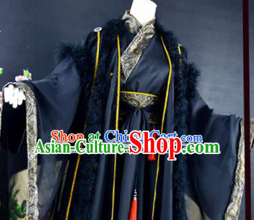Traditional Chinese Cosplay Childe Costumes Ancient Royal Highness Swordsman Black Hanfu Clothing for Men