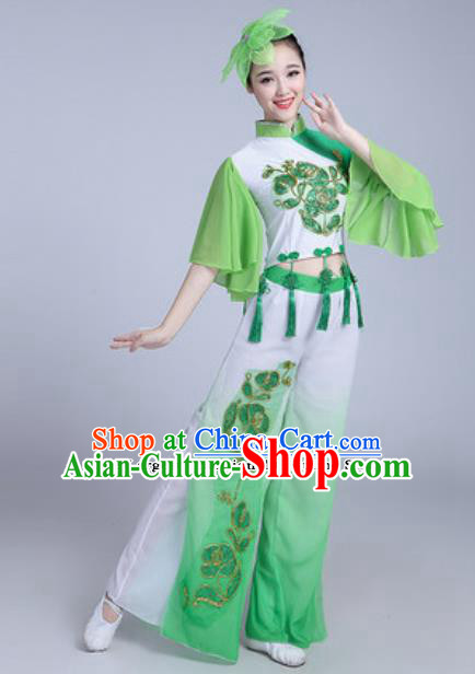 Traditional Chinese Folk Dance Group Dance Dress Yanko Dance Green Clothing for Women