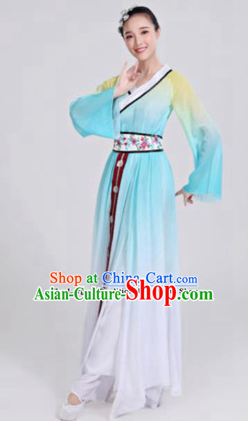 Traditional Chinese Group Dance Umbrella Dance Blue Dress Classical Dance Clothing for Women