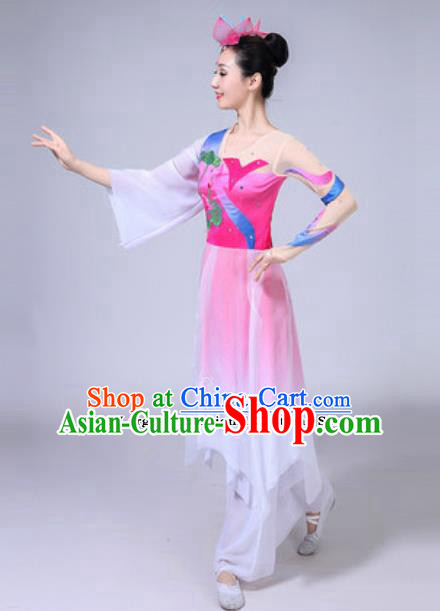 Traditional Chinese Group Dance Folk Dance Pink Dress Classical Dance Clothing for Women