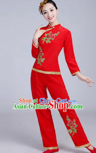 Traditional Chinese Group Dance Folk Dance Red Costumes Yanko Dance Clothing for Women
