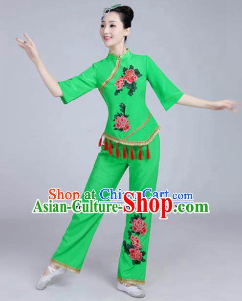 Traditional Chinese Folk Dance Fan Dance Green Costumes Yanko Dance Clothing for Women