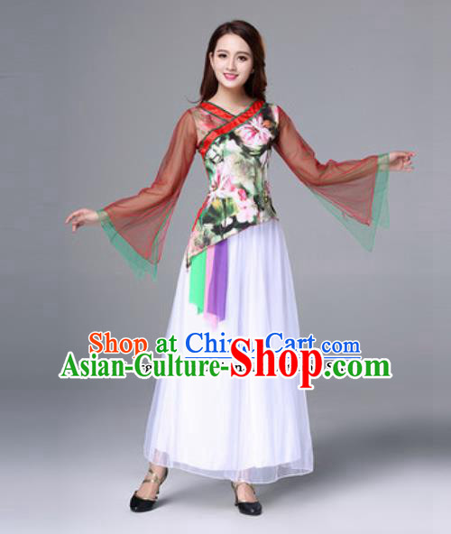 Traditional Chinese Folk Dance Costumes Fan Dance Yanko Dance Clothing for Women