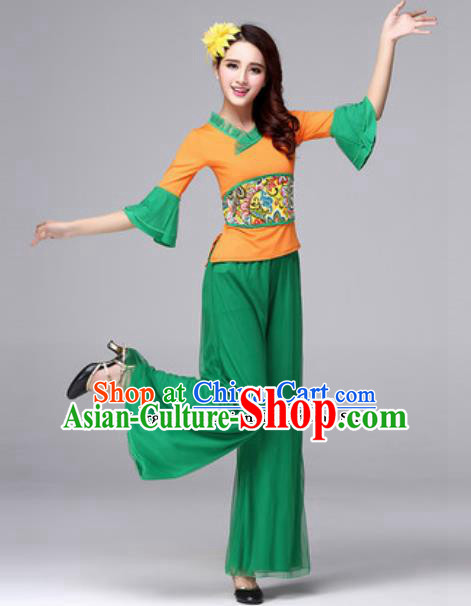 Traditional Chinese Folk Dance Green Costumes Fan Dance Yanko Dance Clothing for Women