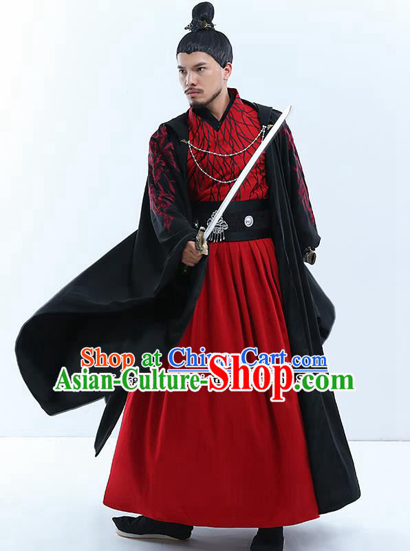 Traditional Chinese Qin Dynasty Swordsman Costumes Ancient Drama King Embroidered Clothing for Men