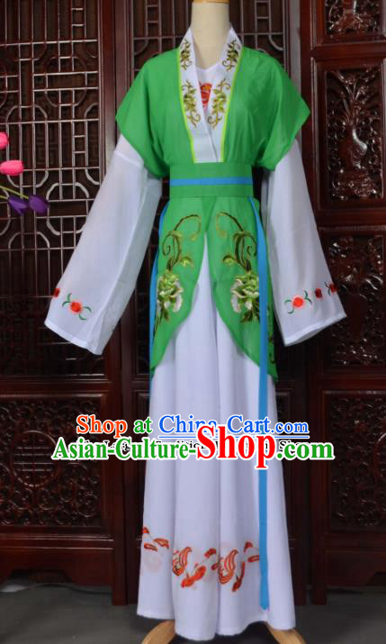 Traditional Chinese Beijing Opera Young Lady Costumes Ancient Maidservants Green Dress for Adults