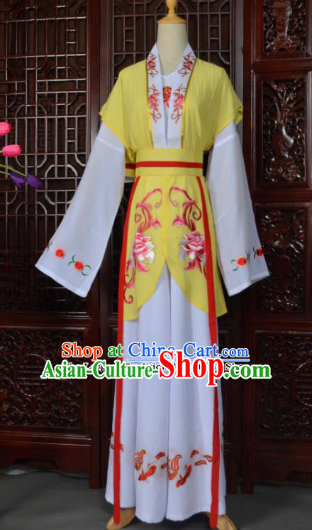 Traditional Chinese Beijing Opera Young Lady Costumes Ancient Maidservants Yellow Dress for Adults