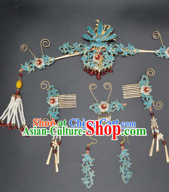 Traditional Chinese Beijing Opera Hair Accessories Ancient Princess Phoenix Coronet Hairpins for Women