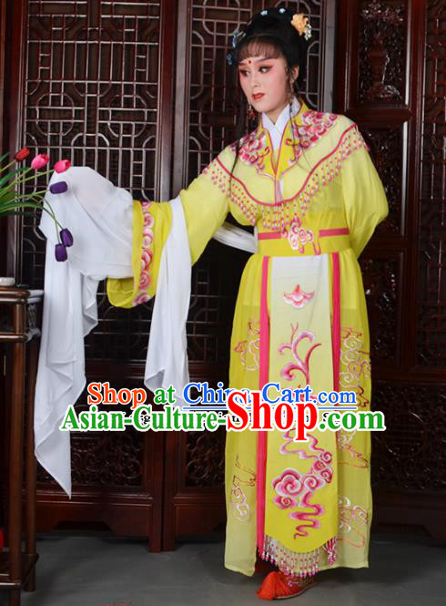 Traditional Chinese Beijing Opera Diva Costumes Ancient Imperial Consort Embroidered Yellow Dress for Adults