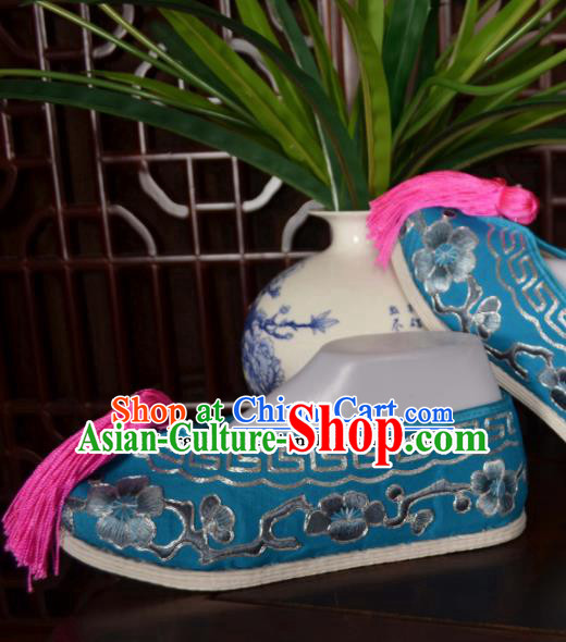 Traditional Chinese Beijing Opera Actress Embroidered Shoes Ancient Princess Blue Hanfu Shoes for Women