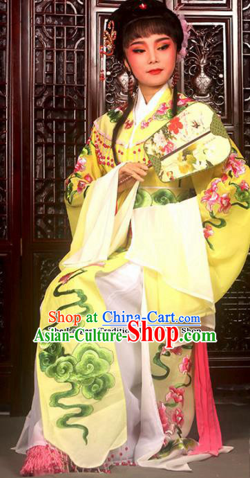 Traditional Chinese Peking Opera Imperial Consort Costumes Ancient Peri Yellow Dress for Adults