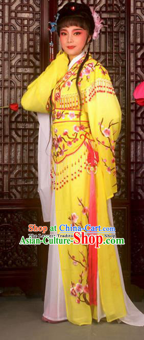 Traditional Chinese Peking Opera Imperial Consort Costumes Ancient Palace Lady Yellow Dress for Adults