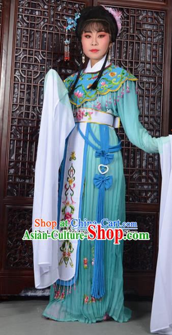 Traditional Chinese Peking Opera Peri Costumes Ancient Princess Blue Dress for Adults